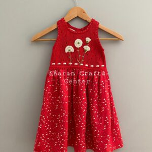 """DANDELIONS ON RED"" DRESS BY SHARAN"