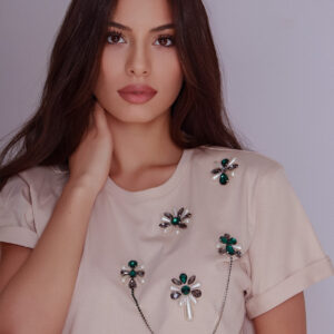 T-SHIRT WITH CRYSTALS BY DIANA GEVORGYAN