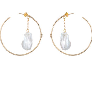 GOLD PLATED EARRINGS WITH NATURAL FRESHWATER PEARLS